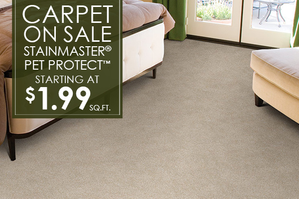 Stainmaster® Pet Protect™ carpet on sale starting at $1.99 sq.ft.
