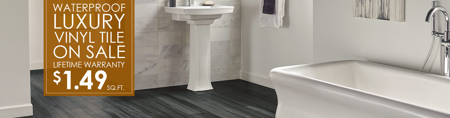 Waterproof Luxury Vinyl Tile on sale!  Lifetime warranty only $1.49 sq.ft.