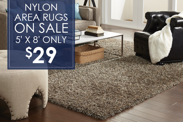 Nylon area rugs on sale! 5' x 8' only $29!