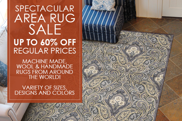 Spectacular area rug sale! Up to 60% OFF regular prices! Machine made, wool & handmade rugs from around the world!  Variety of sizes and colors available!